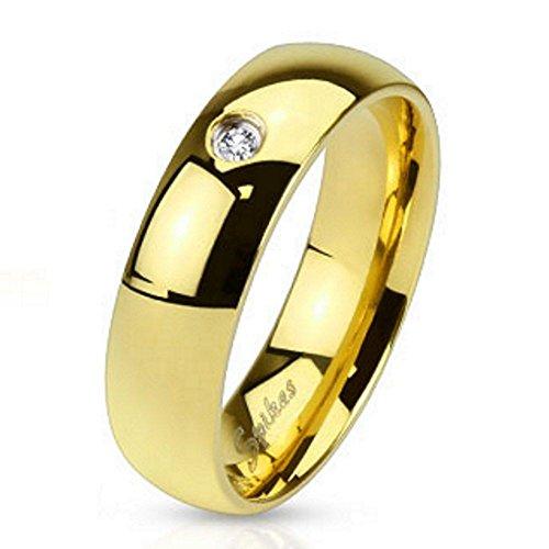 Bungsa 54 (17.2) Hochzeitsring Gold mit Kristall Edelstahl Damen & Herren 49-70 (Fingerring Schmuckring Zirkonia Stein Partnerringe Verlobungsringe Trauringe Damenring Chirurgenstahl)