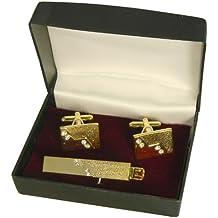 Set Apollo pasador alfiler corbata gemelos en caja para regalo dorado piedras brillantes caballero accesorios