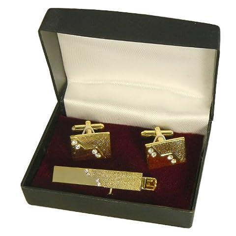 Krawattennadel Manschettenknöpfe Set Apollo Geschenkbox vergoldet Strass-steine Herren Schmuck Tie pin Tie