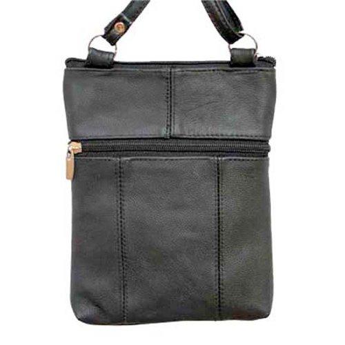 Echtes Leder-Schulter-Runde Tasche überqueren Körper von Silver Fever® schwarz