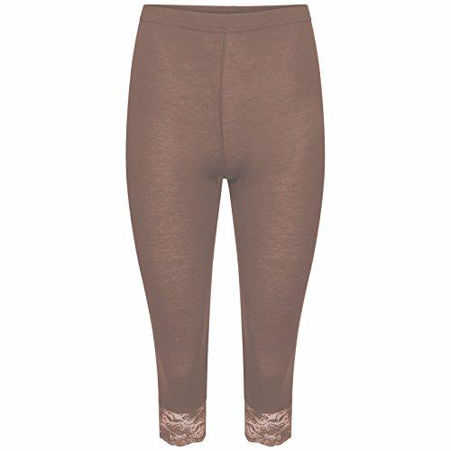 mbc-new da donna corto 3/4lunghezza al ginocchio in pizzo donna Jersey Leggings (tm-miss Boho Chic) Mocha Small / Medium