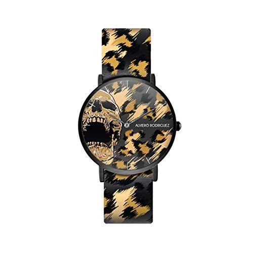 Alviero Rodriguez Uhr Death Valley Totenkopf Skull Maculato Gold mit Echtlederarmband