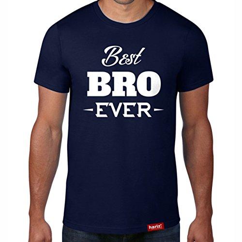 Best Bro Ever // Original Hariz® T-Shirt – Sechzehn Farben, XS-4XXL // Aufdruck | Spruch | Männer | Grosser | Geschenk #Bruder Collection Navy XL