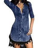 NPRADLA 2018 Kleider Damen Herbst Winter Große Größen Denim Kleid Spitze Jeans Lange Tops Shirt(Blau,2XL/42)
