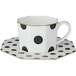 socosy elegante lunares porcelana taza de té y platillo juego de tazas para té de la tarde taza de café con platillo taza de café negro taza de té Set-Equipo