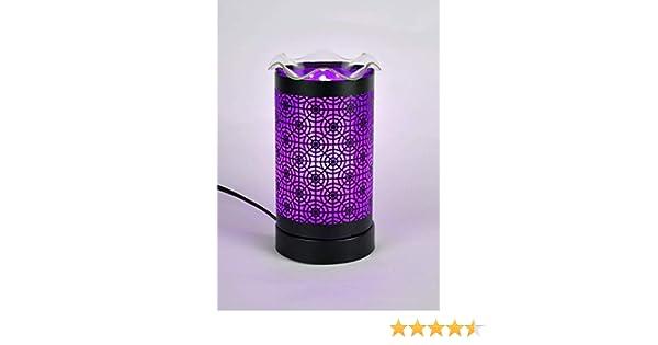 Lampe veilleuse diffuseur de parfums electrique couleur blanche /équip/ée dun variateur dintensit/é filtres couleurs interchangeables offerts