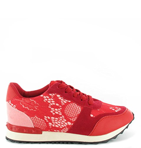 Femme Gym Sport Course Fashion dentelle Baskets Sneakers Neuf Tailles 3–8 red