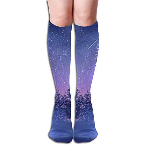 Jxrodekz Starry Night Design Elastic Blend Long Socken Compression Knee High Socken (50cm) for Sports