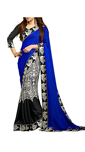 SeeMore Embellished Georgette Blue Color Saree For Women With Blouse Piece