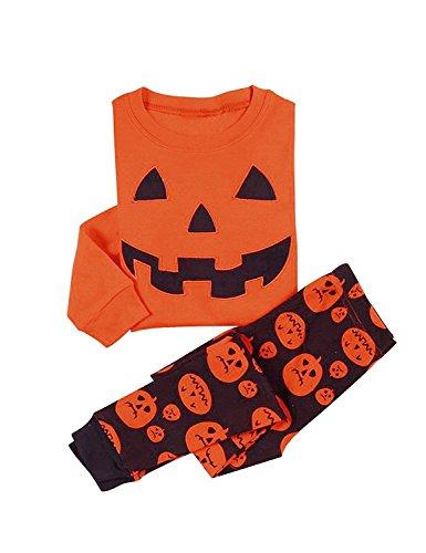 (Garsumiss Jungen Schlafanzug Halloween Kürbis Baumwolle Kinder Langarm Pyjama 98 104 110 116 122)