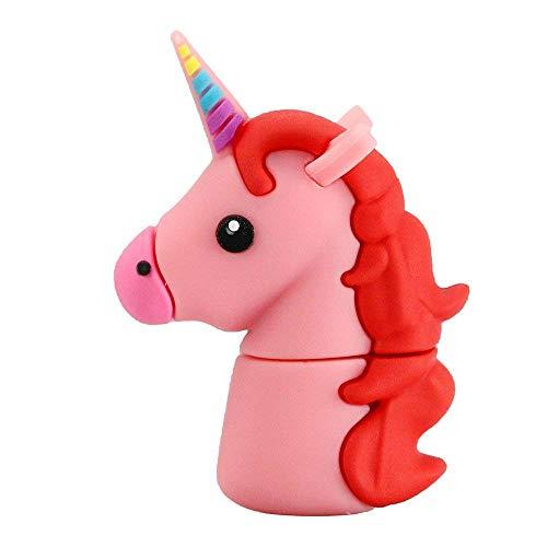 Aneew - Memoria USB de 16 GB con diseño de Unicornio Rosa con Dibujos Animados y Caballo