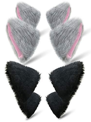 Kostüm Ohren Katzen - 4 Paar Katzen Fell Ohren Haarspange Katzen Ohren Haarspange Frauen Mädchen für Cosplay Halloween Kostüm