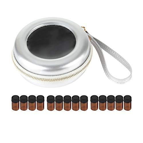 Stockage des huiles essentielles, support de stockage des huiles essentielles, coffret de stockage des huiles essentielles avec 19 compartiments 2 ml d'huile essentielle (Sac + Bouteille-Argent)