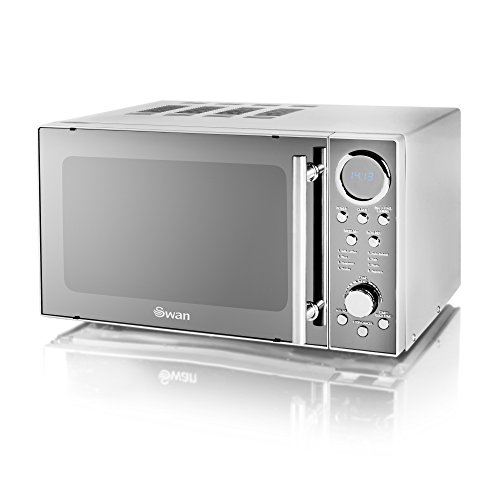 Swan SM3080N Digital Solo Microwave with 10 Power Levels, 800 Watt, 20 Litre, Silver