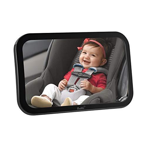 Bable Rücksitzspiegel, Spiegel Auto Baby, Rückspiegel Baby Autospiegel Shatterproof Car Rückspiegel kompatibel mit meisten Auto drehbar doppelriemen, 360° schwenkbar für Baby Kinderbeobachtung