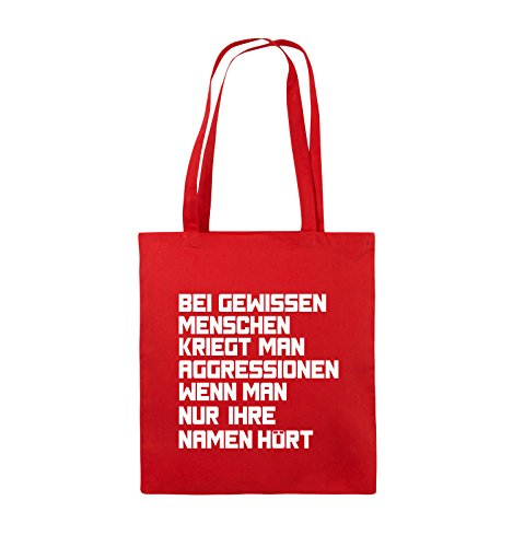 Comedy Bags - Bei gewissen Menschen kriegt man Aggressionen. - Jutebeutel - lange Henkel - 38x42cm - Farbe: Schwarz / Pink Rot / Weiss