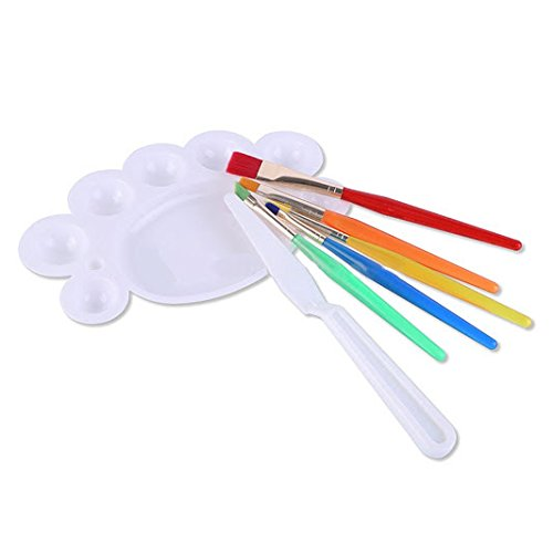 Keepsmiling Kids 7 Pcs Painting Brush Set - 5 Pcs Nylon Bristles Brush,1 Pc Palette Knife 1 Palette  available at amazon for Rs.219