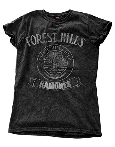 Ramones T Shirt Forest Hills band logo offiziell damen Skinny Fit Snow Wash -