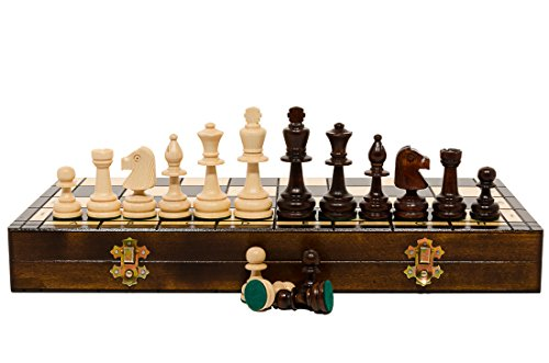 High-Class OLYMPIC Large 42cm / 16.5in Wooden Hand Crafted Professional Chess Set by Master Of Chess