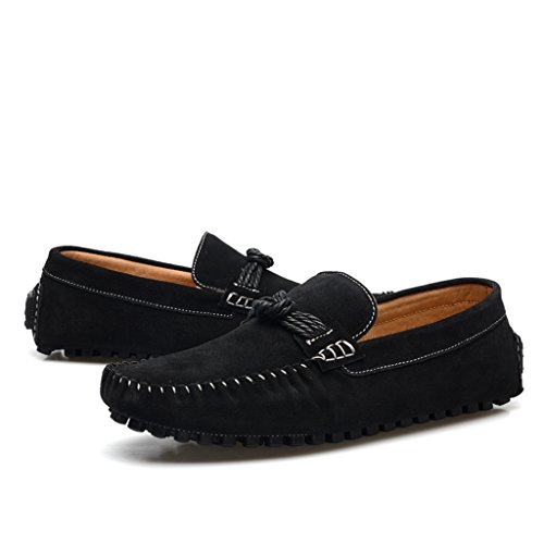 Men's Minitoo Classic Cordon de daim Walk Loafers nœud de route Noir - noir