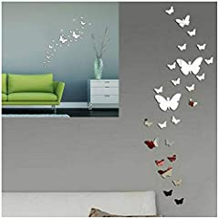 Idea Regalo - SwirlColor 30PCS Farfalla Combinazione 3D Specchio Wall Stickers Home Decoration