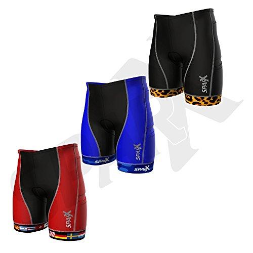 Sparx Herren Competitor Tri Shorts | Triathlon Kurze | Super Haltbarkeit und Passform | High End Kompression (Zweite Haut) Triathlon Shorts mit Weichem Custom Chamois | Swim-Bike-Run, Flags, Medium