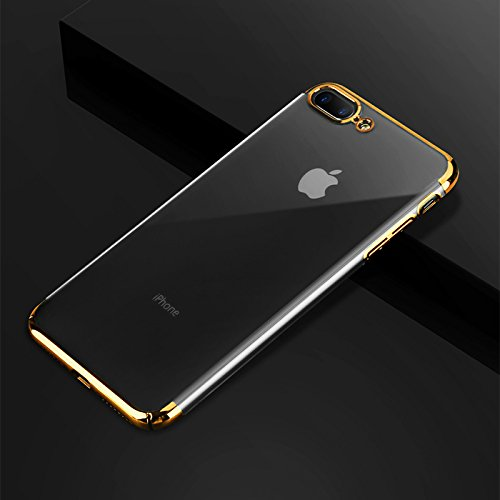 iPhone 7 Hülle, iPhone 8 Hülle GAVAER Galvanisieren Telefonkasten Soft Flex Silikon Premium Kratzfest TPU Ultra Dünn Durchsichtige Handyhülle für Apple iphone 7/8 Schutzhülle, Gold (Flex-7 Objektiv)