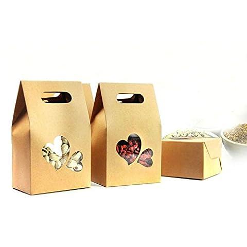 Akoak 20pièces support de papier Kraft à double cœur Sacs avec fenêtre à dragées Écrous à café Sacs d