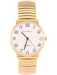 Philip Mercier MC45/A - Reloj analógico para hombre, correa de otros materiales color dorado
