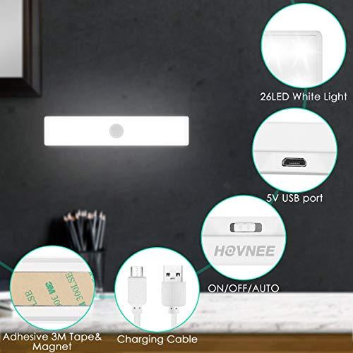 Lampe de Placard HOVNEE, Portable Rechargeable par USB, Aimanté Détecteur de Mouvement, Baladeuse...