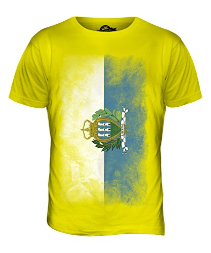 CandyMix São Tomé Und Príncipe Verblichen Flagge Herren T Shirt Zitronengelb