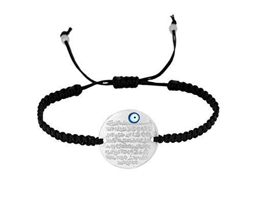 Remi Bijou Gravurplatte Armkette Armband Makramee - Ayetel Kürsi Gebet für Muslimen Allah Islam - mit türkischem Auge Nazar Boncuk Evil Eye Silber Farbe Schnur Cord