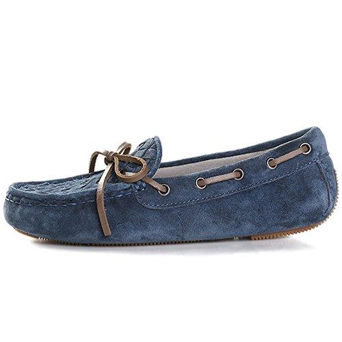 OZZEG Mocassins Chaussures cuir véritable Mode Femme Chaussures conçues Bleu