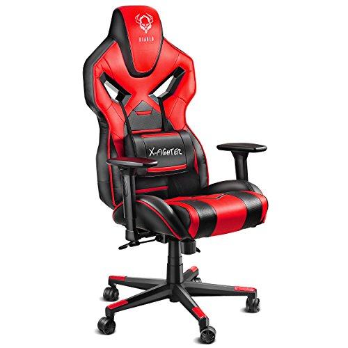 Diablo X-Fighter Gaming Stuhl Bürostuhl, verstellbare Armlehnen 4D, Air Mesh, regulierbare Lendenwirbelstütze, Wippfunktion, Kunstlederbezug, Farbwahl (schwarz-rot)