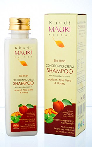 KHADI Conditioning Cream Shampoo- 250 ml - Dry & Damaged Hair Treatment- Enriched with Apricot, Aloe Vera & Honey