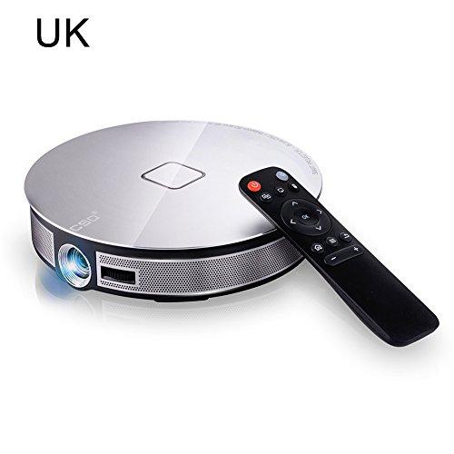 D8s Portable Smart Home Android6.0Vidéoprojecteur, Wifi, Bluetooth, LED, dispositif multimédia pour théâtre et cinéma, Ultra HD, CSQ, DLP, 3500lumens, Rk3368Octa-Core 2g, 32g avec système d'exploitation Android 6.0,5g 4k vidéo Full HD, 1080p, 3d, entrée HDMI 3500 lumens