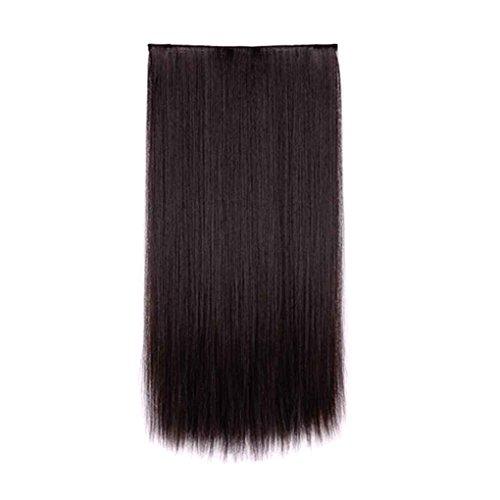 Babysbreath Damen Haarverlängerung lange gerade nahtlose Clip Pferdeschwanz Haarteil Natürliches Schwarz