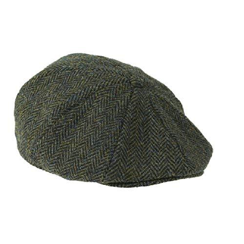 Heather Hats Herren Arran Harris Tweed 8-PC Kappe Hut - Dunkelgrün, L