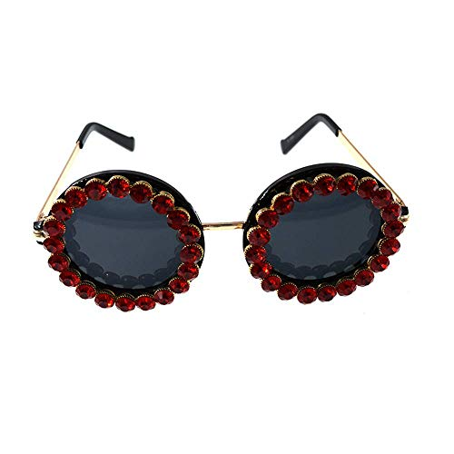 XHCP Frauen Polarisierte Klassische Aviator Sonnenbrille, Dame 's Kristall Sonnenbrille Runde Form UV Schutz Für Fahren Reisen Sommer Strand (Farbe: Rot)