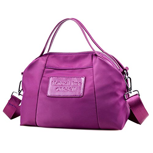 Ladies singola borsa a tracolla,borsa di tela,portatile/messenger bag-nero porpora