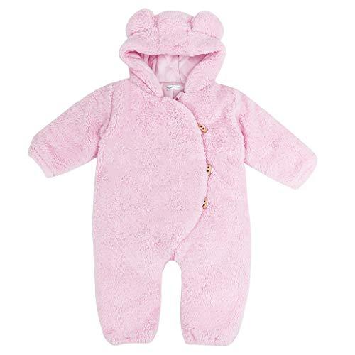 Baby Overall Winter Outfits Kapuze Jumpsuit Jungen Neugeborene Schneeanzug Mädchen Strampler Pyjama Säugling Onesie Kleinkind Süß Bär Oberbekleidung Footies Rosa 0-6 Monate