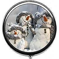 LinJxLee Christmas Snowmen Portable Round Pill Case Pill Box Medicine Box Medicine Tablet Vitamin Organizer for... preisvergleich bei billige-tabletten.eu