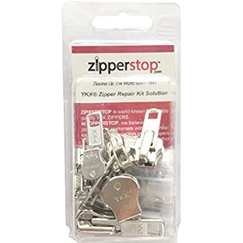 zipperstop all' ingrosso–Cerniera YKK® Kit di riparazione soluzione 8set di YKK® Auto Lock Sliders assortiti 4di # 5, 2# 7e 2di # 10incluso Top & fondo Stops Made in USA YKK Aluminum Auto Lock Sliders