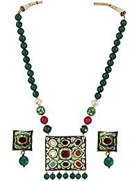 Aradhya Traditional Designer Green Navratan And Kundan Necklace Set With Onyx Beads For Women And Girls
