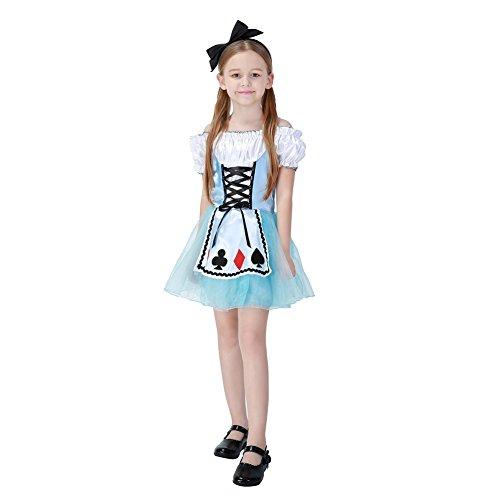 Hallowmax Mädchen Prinzessin Kleider Alice im Wunderland Party Cosplay (Kind Prinzessin Alice Kostüme)