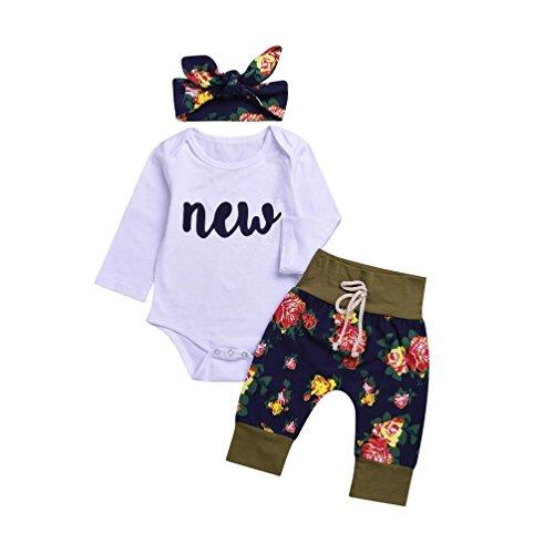 (Ausverkauf. Baby Mädchen Floral Kleidung Outfits Mingfa Infant Kleinkind 3Buchstabe Gedruckt Lange Ärmel Strampler Tops + Floral Hose Headbands-Set, Kinder, weiß, 6 m)