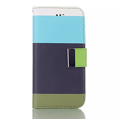 "inShang iPhone 6 Plus Coque iPhone 6+ 5.5"" Housse de Protection Etui pour Apple iPhone6 plus iPhone6+ 5.5 Inch, Cuir PU de premiere qualite, + inShang Logo Qualite Pens Haute Stylet capacitif Rainbow blue+navyblue+green"