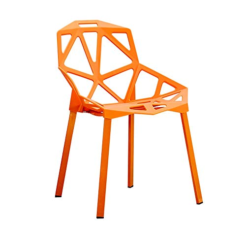 Teen Schreibtisch Orange (Stuhl rückenlehne esszimmerstuhl Kunststoff Retro Sofa Stuhl Moderne möbel Wohnzimmer, Schreibtisch, terrasse, büro, küche, Cafeteria Hause Stuhl (Color : Orange))