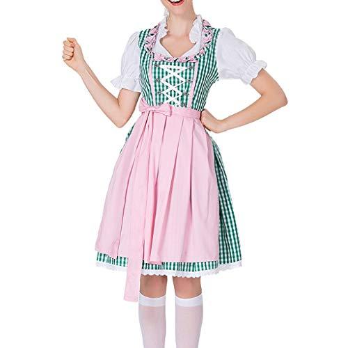 Bayerische Kostüm Dress - Chejarity 2 TLG. Damen Oktoberfest Kostüm: Kleid, Schürze Bayerisches Bier Mädchen Drindl Tavern Maid Dress Vintage Retro Kariert Halloween Karneval Cosplay Traditionelle Kleidung (XL, Grün)