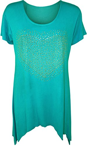 NEW Mesdames manches courtes Big Heart Stud Hanky ourlet long Top Plus Taille Turquoise